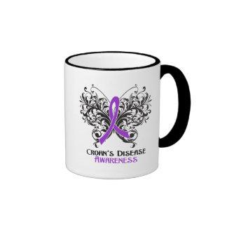 Crohns Disease Awareness Butterfly Ringer Coffee Mug