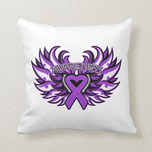 Crohn's Disease Awareness Heart Wings Throw Pillow