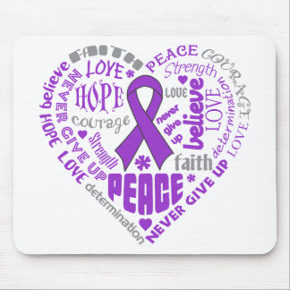 Crohn's Disease Awareness Heart Words Mouse Pad