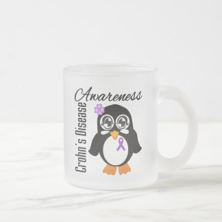 Crohn's Disease Awareness Penguin 10 Oz Frosted Glass Coffee Mug