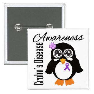 Crohn's Disease Awareness Penguin Pinback Button