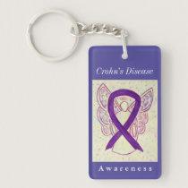 Crohn's Disease Awareness Ribbon Angel Key Chain