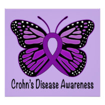 Crohn's Disease Butterfly Awareness Ribbon Poster