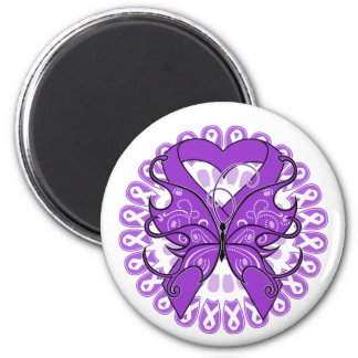 Crohn's Disease Butterfly Circle of Ribbons Refrigerator Magnets
