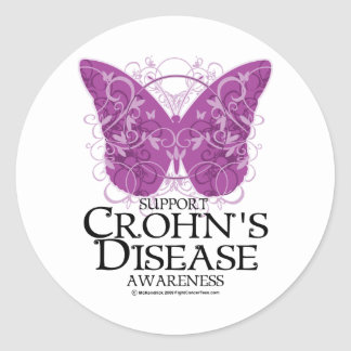 Crohn's Disease Butterfly Classic Round Sticker