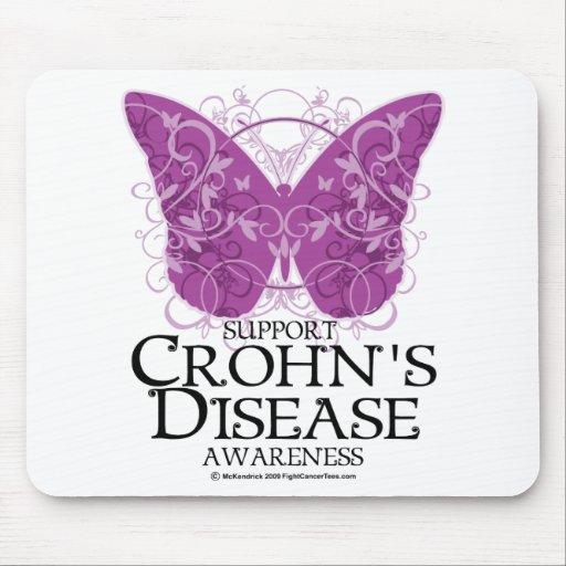 Crohn's Disease Butterfly Mouse Pads