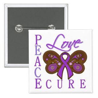 Crohn's Disease Butterfly Peace Love Cure Button