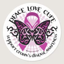 Crohn's Disease Butterfly Tribal Classic Round Sticker