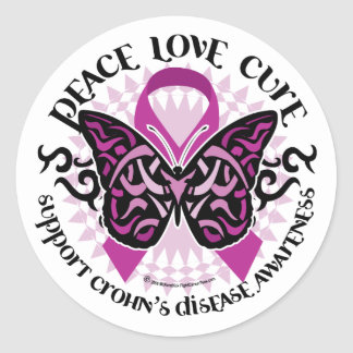 Crohn's Disease Butterfly Tribal Classic Round Sticker
