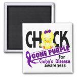 Crohn's Disease Chick Gone Purple 2 2 Inch Square Magnet
