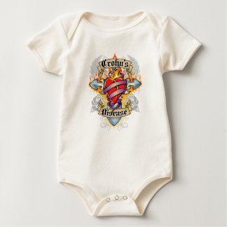 Crohns Disease Cross & Heart Baby Bodysuit