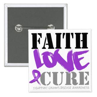 Crohn's Disease Faith Love Cure Pinback Button
