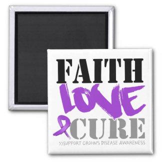 Crohn's Disease Faith Love Cure 2 Inch Square Magnet