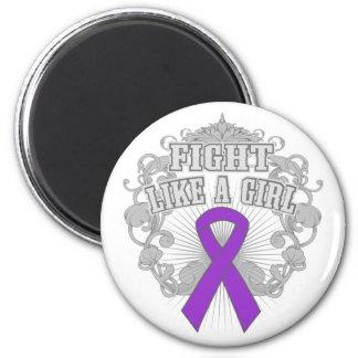 Crohns Disease Fight Like A Girl Fleurish 2 Inch Round Magnet