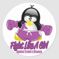 Crohn's Disease Fighting Penguin Classic Round Sticker
