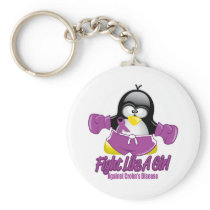 Crohn's Disease Fighting Penguin Keychain