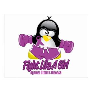 Crohn's Disease Fighting Penguin Postcard