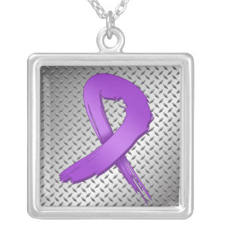 Crohns Disease Grunge Ribbon Metal Style Custom Necklace