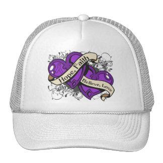 Crohn's Disease Hope Faith Dual Hearts Trucker Hat