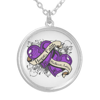 Crohn's Disease Hope Faith Dual Hearts Round Pendant Necklace