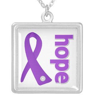 Crohns Disease Hope Purple Ribbon Square Pendant Necklace