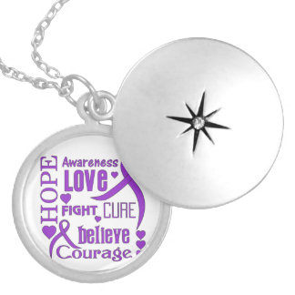 Crohn's Disease Hope Words Collage Round Locket Necklace