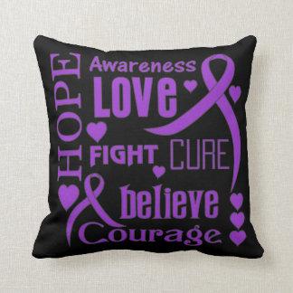 Crohn's Disease Hope Words Collage Throw Pillow
