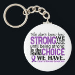 "Crohn&#39;s Disease How Strong We Are Keychain<br><div class=""desc"">See our complete and exclusive selection of Crohn&#39;s Disease designs featuring inspiring quotes by visiting &quot;We Don&#39;t Know How Strong We Are Until Being Strong Is The Only Choice We Have&quot; (author unknown). Share this empowering sentiment while advocating Crohn&#39;s Disease awareness with our line of inspiring t-shirts, apparel, and merchandise...</div>"