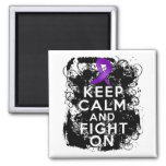 Crohns Disease Keep Calm and Fight On 2 Inch Square Magnet