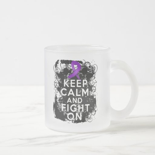 Crohns Disease Keep Calm and Fight On 10 Oz Frosted Glass Coffee Mug