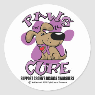 Crohn's Disease Paws for the Cure Classic Round Sticker