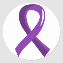 Crohn's Disease Purple Ribbon 3 Classic Round Sticker