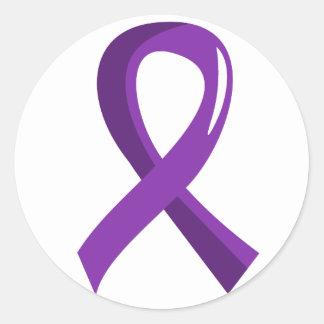 Crohn's Disease Purple Ribbon 3 Classic Round Sticker