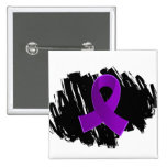 Crohn's Disease Purple Ribbon With Scribble Buttons