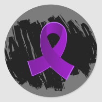 Crohn's Disease Purple Ribbon With Scribble Classic Round Sticker