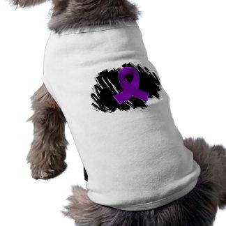 Crohn's Disease Purple Ribbon With Scribble Doggie T-shirt