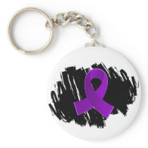 Crohn's Disease Purple Ribbon With Scribble Keychain