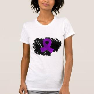 Crohn's Disease Purple Ribbon With Scribble T Shirt