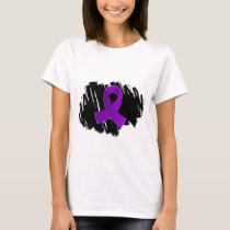 Crohn's Disease Purple Ribbon With Scribble T-Shirt