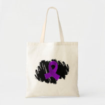 Crohn's Disease Purple Ribbon With Scribble Tote Bag