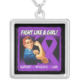 Crohn's Disease Rosie Riveter Fight Like A Girl Necklaces