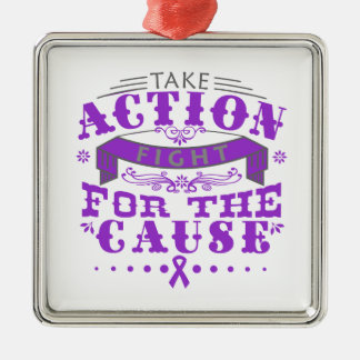 Crohn's Disease Take Action Fight For The Cause Square Metal Christmas Ornament
