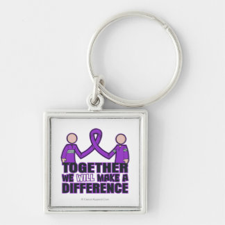 Crohn's Disease Together We Will Make A Difference Silver-Colored Square Keychain