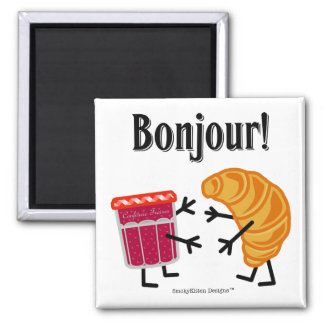 Croissant and Jam - Bonjour! 2 Inch Square Magnet