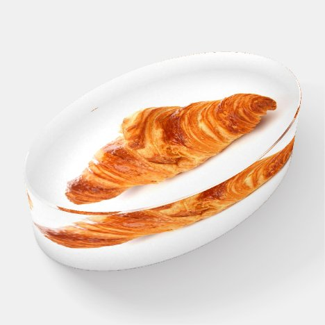 Croissant paperweight, fun pastry food paperweight