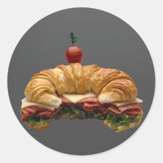 Croissant Sandwich Classic Round Sticker