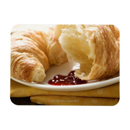 Croissant with jam on a plate rectangular magnet
