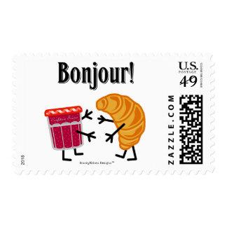 ¡Croissant y atasco - Bonjour! Sellos