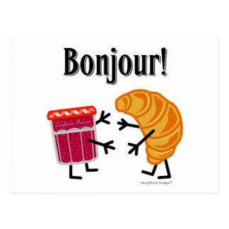 ¡Croissant y atasco - Bonjour! Postal