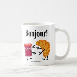 ¡Croissant y atasco - Bonjour! Taza Clásica